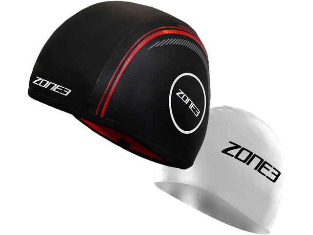 Zone3 Neoprene Strapless Swim Cap black/red